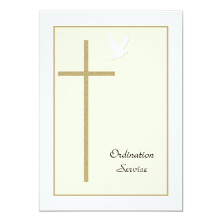 Church Ordination Invitation Cross & Dove