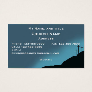 Church/Pastor Card, 3 crosses on hill, blue sunset Business Card