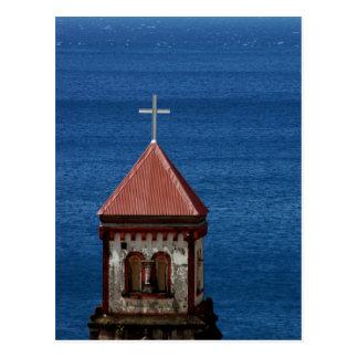 Church steeple on the caribbean postcard