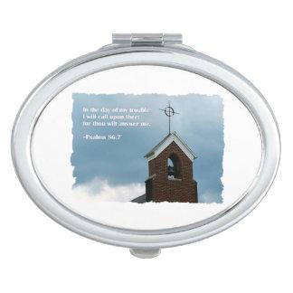 Church Steeple Storm   Bible Verse Psalms 86:7 Makeup Mirror