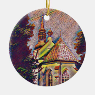 Church Steeples Artistic Photo Manipulation Round Ceramic Ornament