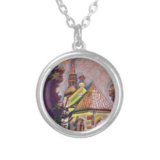 Church Steeples Artistic Photo Manipulation Silver Plated Necklace