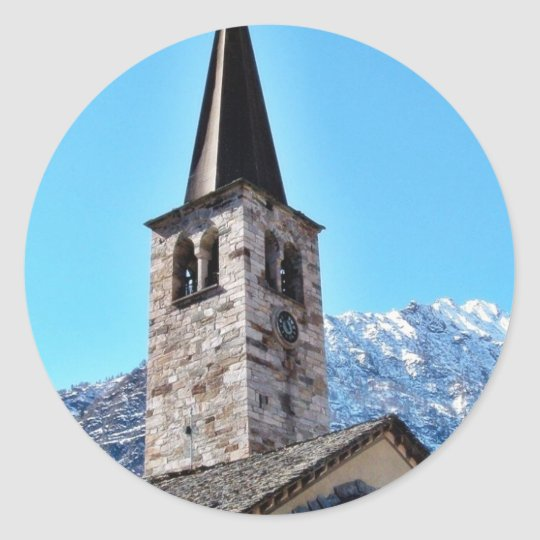 Church Tower In A Village In The Alp Mountain Classic Round Sticker