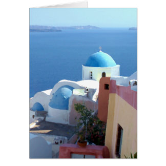 Church Views on Santorini, Greece Card
