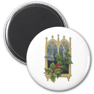 Church Window and Bells 2 Inch Round Magnet