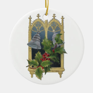 Church Window and Bells Double-Sided Ceramic Round Christmas Ornament