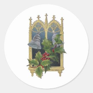 Church Window and Bells Round Sticker