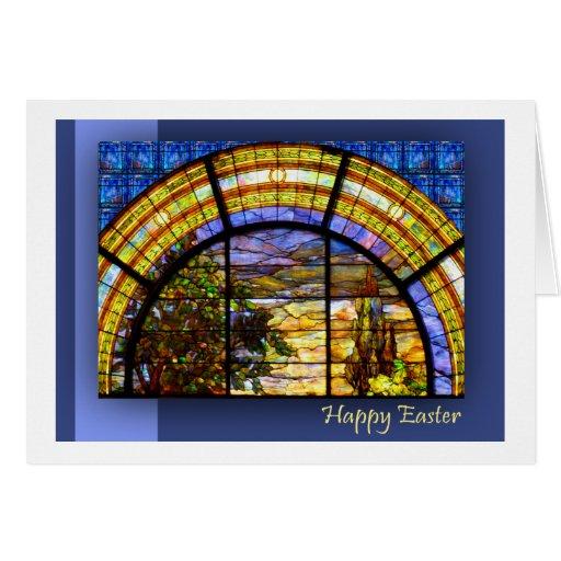 CHURCH WINDOW EASTER ARCH CARD