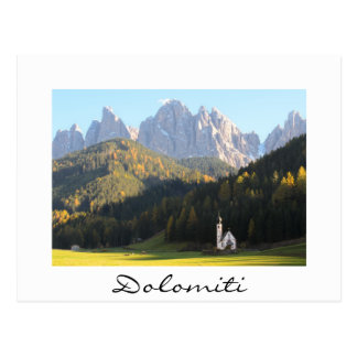 Church with Dolomites mountain white text postcard