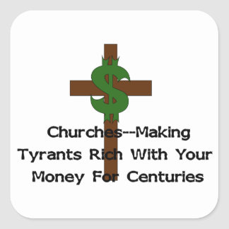 Churches Heart Money Square Sticker
