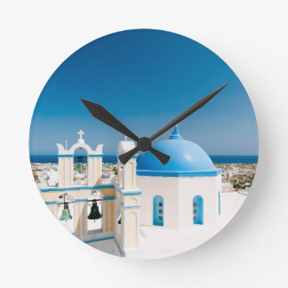 Churches With Blue Roofs Round Clock