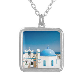 Churches With Blue Roofs Silver Plated Necklace