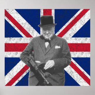 Churchill Posing With A Tommy Gun Print