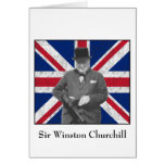 Churchill Posing With The British Flag Greeting Cards
