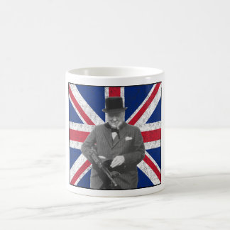 Churchill Posing With The British Flag Coffee Mug