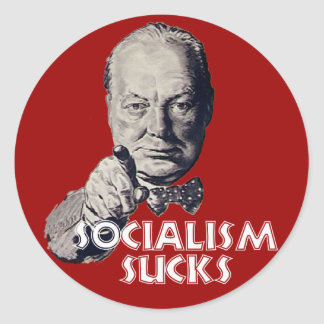Churchill Quote: Socialism Sucks! Classic Round Sticker