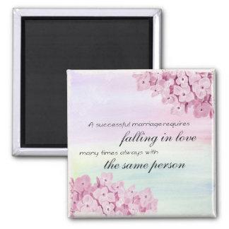 Chute dans l'aimant d'amour magnet carré