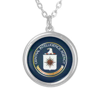 CIA Flag Grunge Silver Plated Necklace