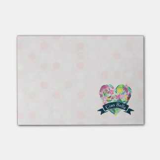 Ciao Bella Cute Floral Heart on Pink Circles Post-it Notes