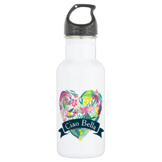 Ciao Bella Cute Floral Heart with Tropical Flowers 532 Ml Water Bottle