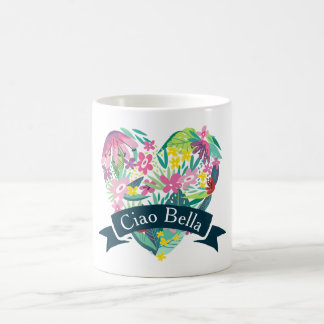 Ciao Bella Cute Floral Heart with Tropical Flowers Coffee Mug