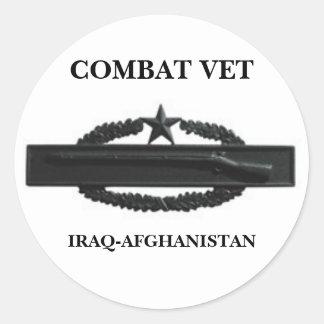 CIB2SUBD3, COMBAT VET, IRAQ-AFGHANISTAN CLASSIC ROUND STICKER