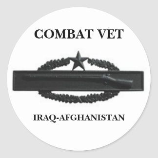 CIB2SUBD3, COMBAT VET, IRAQ-AFGHANISTAN ROUND STICKER