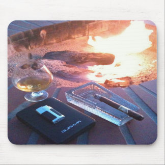 Cigar and a Drink by the Fire - Mouse Pad