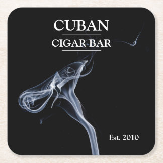 Cigar Bar Black and White Smoke Trails Beer Mat Square Paper Coaster