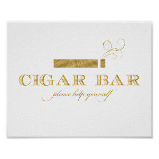 Cigar Bar Sign - Faux Gold Foil Shimmer