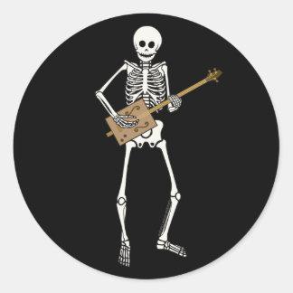 Cigar Box Guitar Skeleton Round Sticker