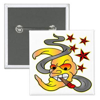Cigar Smoking Moon & Stars Tattoo 2 Inch Square Button