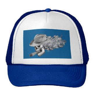 cigar smoking skull trucker hat
