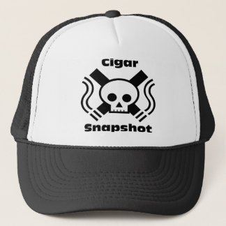 Cigar Snapshot Skull Logo with Title Trucker Hat