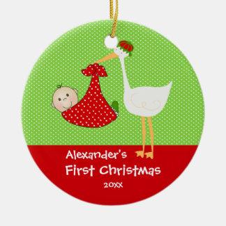 Cigogne mignonne de premier ornement de Noël du