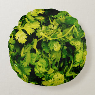 Cilantro / Coriander Leaves Round Pillow