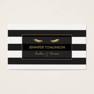 Cils d'or avec les rayures noires et blanches cartes de visite