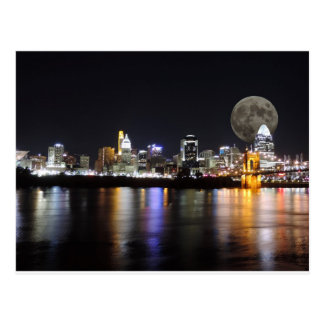 Cincinnat skyline with the moon postcard