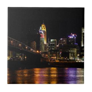 Cincinnati by Night Ceramic Tile