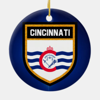 Cincinnati Flag Ceramic Ornament