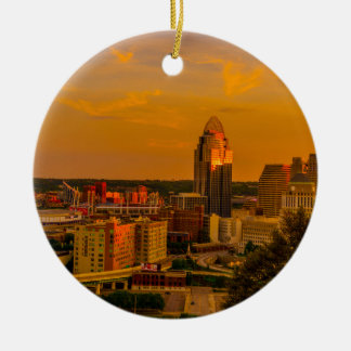 Cincinnati Golden Ceramic Ornament