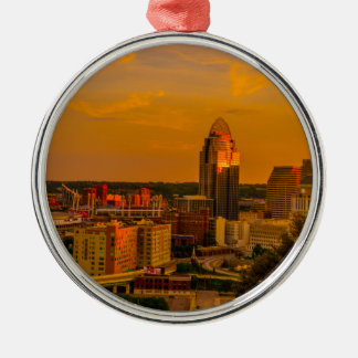 Cincinnati Golden Metal Ornament