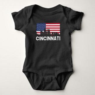Cincinnati OH American Flag Skyline Baby Bodysuit