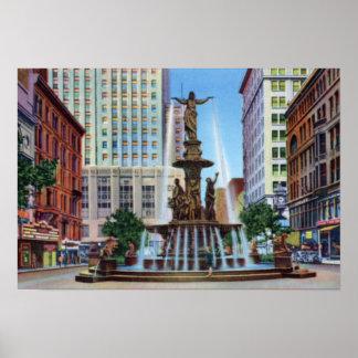 Cincinnati Ohio Fountain Square Poster