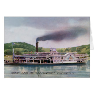 Cincinnati Ohio Island Queen Steamer Ohio River Card