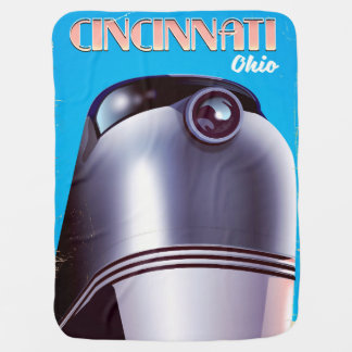 Cincinnati, Ohio Locomotive travel poster. Baby Blanket
