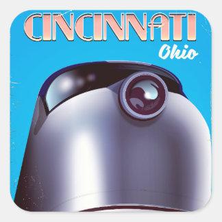 Cincinnati, Ohio Locomotive travel poster. Square Sticker