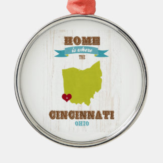 Cincinnati, Ohio Map – Home Is Where The Heart Is Metal Ornament