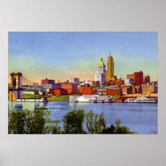 Cincinnati Ohio Skyline and Ohio River Poster