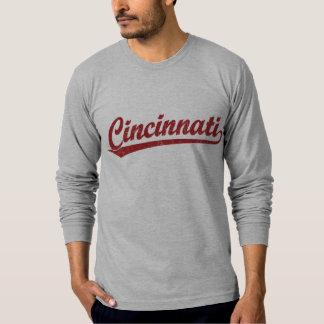 Cincinnati script logo in red T-Shirt